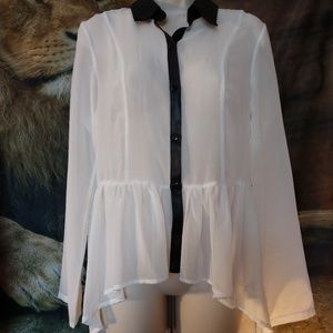 Beautiful white with black trim blouse